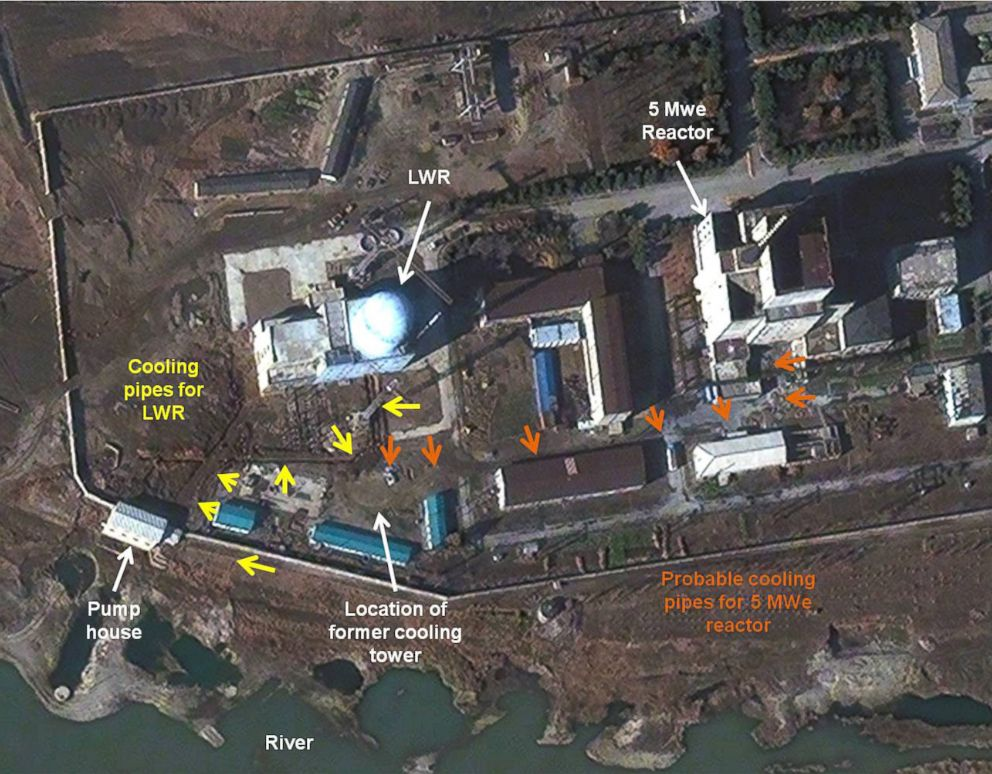 PHOTO: In this file photo, a satellite image of the 5 MWe Reactor at Yongbyon Nuclear Complex in North Korea is seen on Nov. 13, 2012.