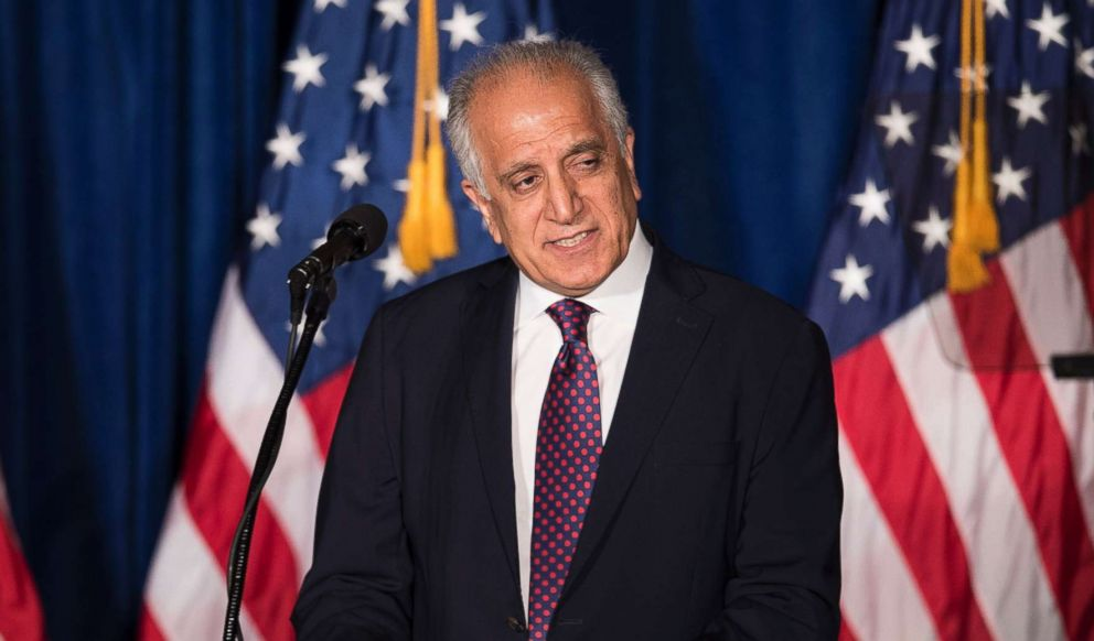 PHOTO: Former Ambassador to Afghanistan, Zalmay Khalilzad, speaks before Republican Presidential hopeful Donald Trump at the Mayflower Hotel in Washington, April 27, 2016.