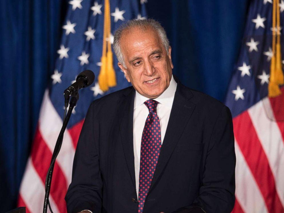 PHOTO: Former Ambassador to Afghanistan, Zalmay Khalilzad, speaks before Republican Presidential hopeful Donald Trump at the Mayflower Hotel in Washington, April 27, 2016.