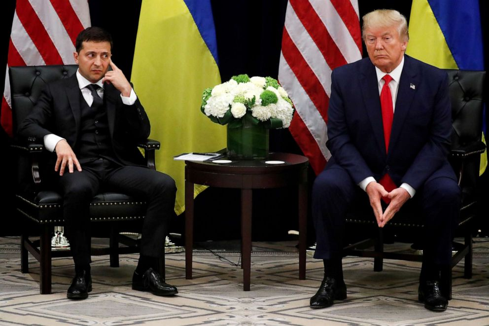 PHOTO: Ukraines President Volodymyr Zelenskiy listens during a bilateral meeting with U.S. President Donald Trump on the sidelines of the 74th session of the United Nations General Assembly (UNGA) in New York City, Sept. 25, 2019.