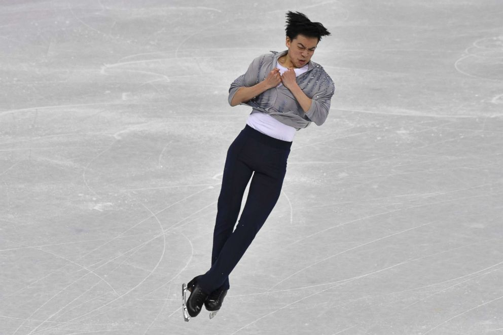 USA's Vincent Zhou competes in the men's single skating short program of the figure skating event during the Pyeongchang 2018 Winter Olympic Games at the Gangneung Ice Arena in Gangneung, Feb. 16, 2018.