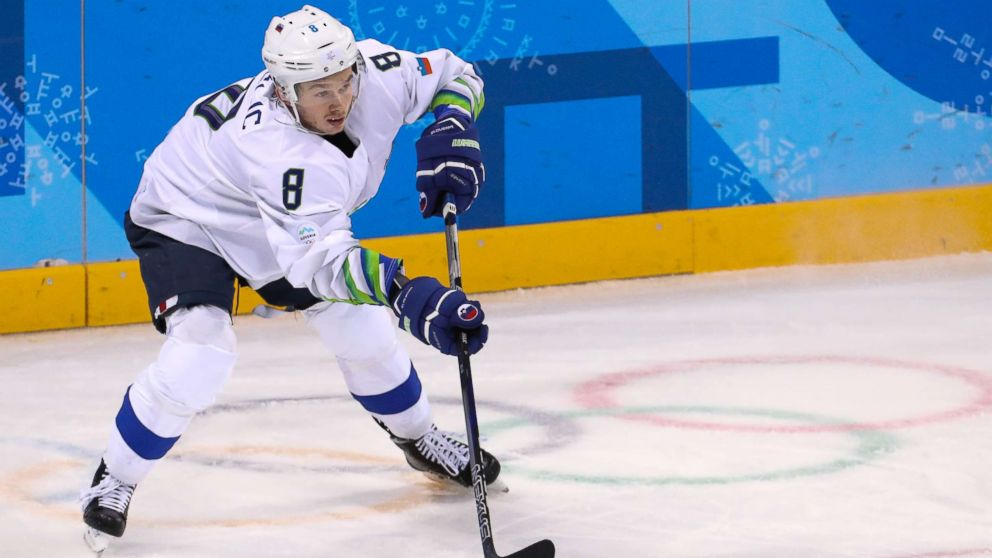 Ziga Jeglic of Slovenia during the Men's Ice Hockey match between Slovenia and U.S. at the PyeongChang Winter Olympic Games 2018, in Gangneung, South Korea, Feb. 14, 2018. The Anti-doping Division of the Court of Arbitration for Sport (CAS ADD) confirmed on Feb. 20, 2018, that it has has registered a case against Ice Hockey player Ziga Jeglic of Slovenia, 29, who was found positive in-competition test with fenoterol (beta-2 agonist), following a request of from the International Olympic Committee (IOC).