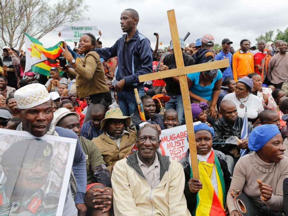 PHOTO: People gather at a rally against President Mugabe held by the war veterans as part mass action protests that have brought the city to a stand still, in Harare, Zimbabwe, Nov. 18, 2017.