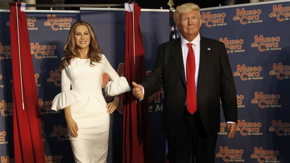 The wax figures of Melania Trump and Donald Trump are displayed at the Wax Museum on July 20, 2017 in Madrid, Spain.