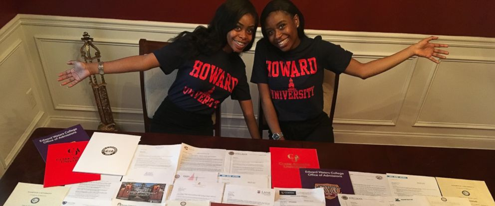 PHOTO: 17-year-old twin sisters Akhya C. and Akhea S. Mitchell got accepted into 42 schools between them, earning over $900,000 in scholarship offers.