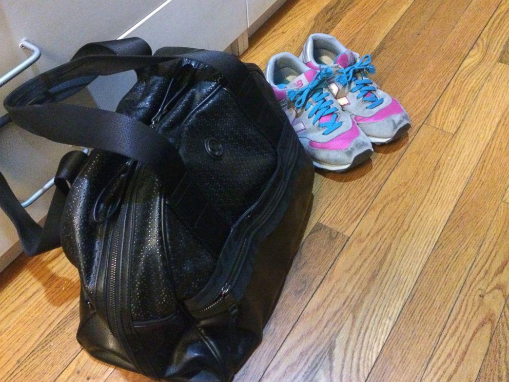 PHOTO: Mara packs a gym bag nightly.