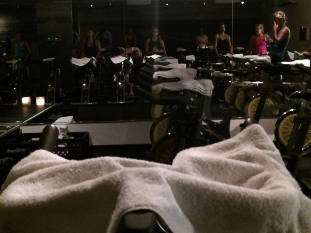 PHOTO: Mara starts her workout with SoulCycle.