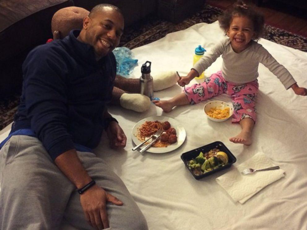 PHOTO: Mara eats dinner with her family.