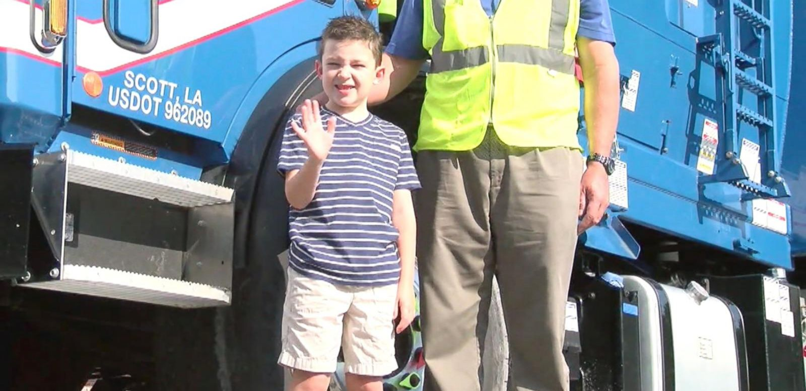 Cohen Mahoney, 7, was surprised by his local garbage collectors with gifts.