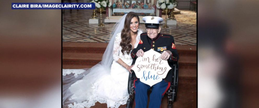 VIDEO; 92-year-old Marine uncle serves as brides something blue