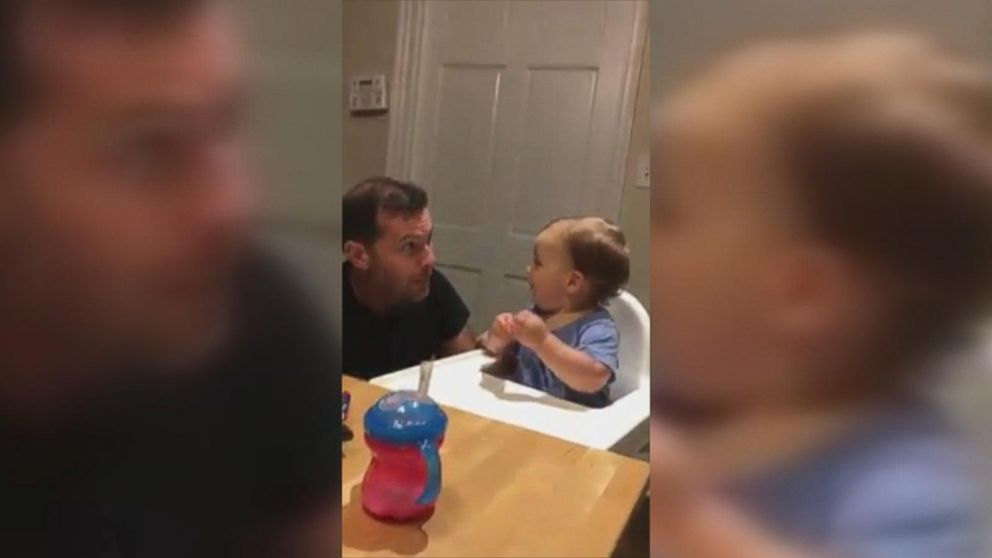 Baby boy can't wait for his dad to drop the beat