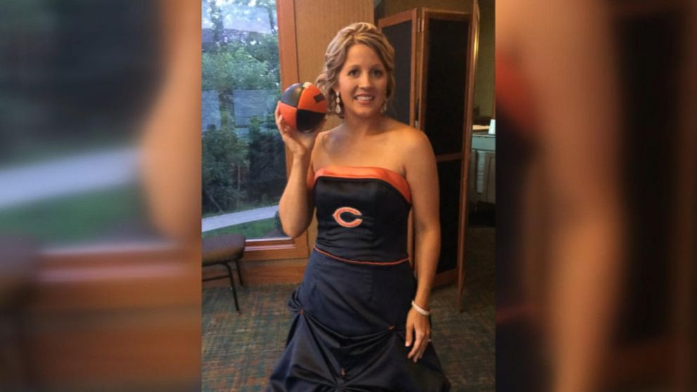 5418acc16b7 Bride surprises dad by wearing Chicago Bears-themed wedding dress for their  dance