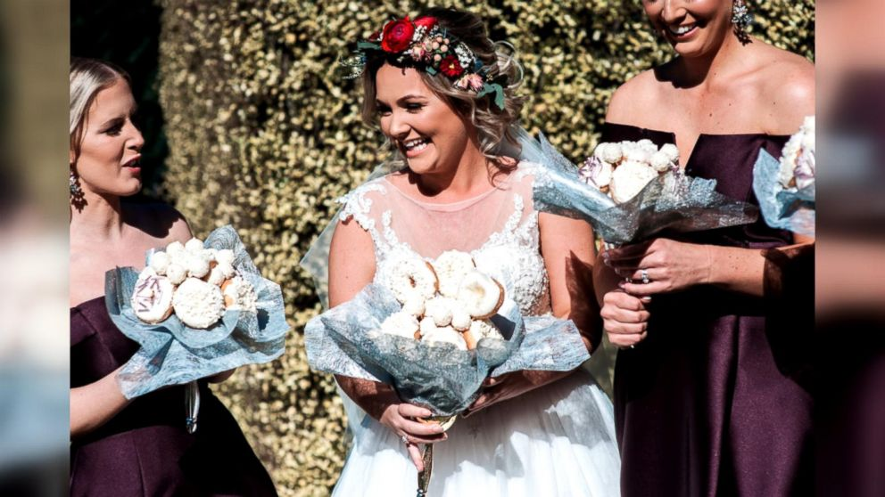 Doughnuts Puppies And Succulents Brides Walk Down The Aisle With Unconventional Bouquets