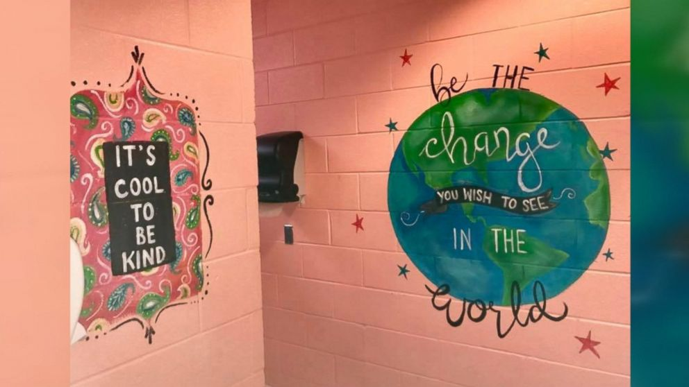 Woman Paints Motivational Messages In Middle School Girls Bathrooms Interesting Bathrooms For Seniors Painting