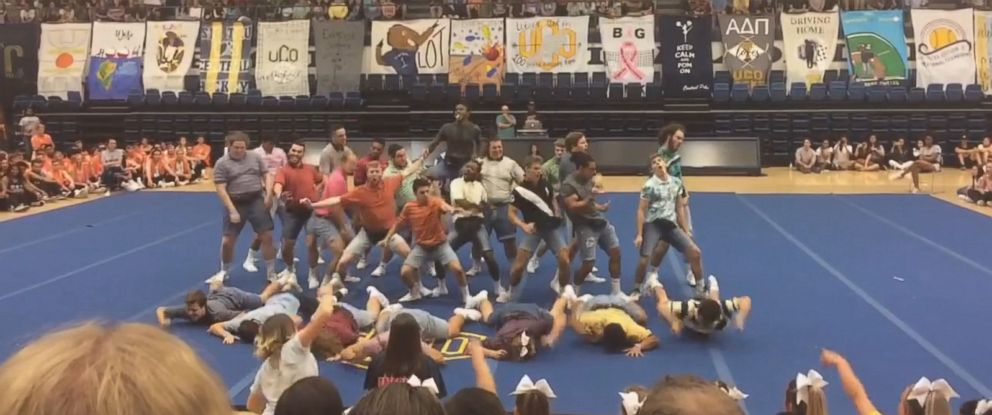 VIDEO: Members of the Sigma Tau Gamma fraternity at the University of Central Oklahoma performed an elaborately choreographed routine for the schools annual dance and cheer competition for charity.