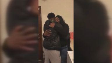'Grant Jackson surprised his mom, Gwen Jackson, returning home for the holidays from his deployment on Dec. 18, and she had the best reaction.' from the web at 'https://s.abcnews.com/images/Lifestyle/171221_ugc_mom_panic_attack_surprise3_16x9_384.jpg'