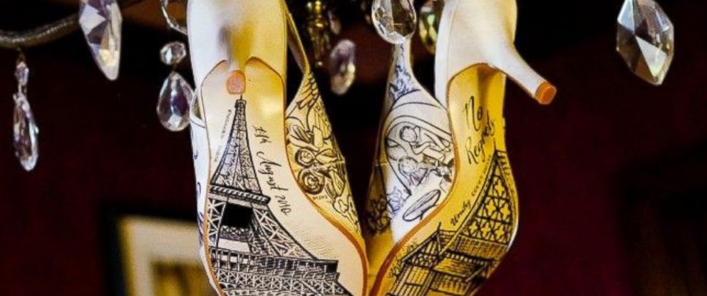 PHOTO: Hand-Painted Wedding Shoes Create a Truly Magical Walk Down the Aisle