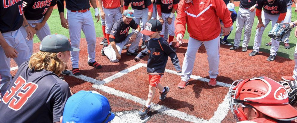PHOTO: Lio Ortega, a 4-year-old cancer patient, runs the bases during a recent college baseball game in El Paso County, Colo.