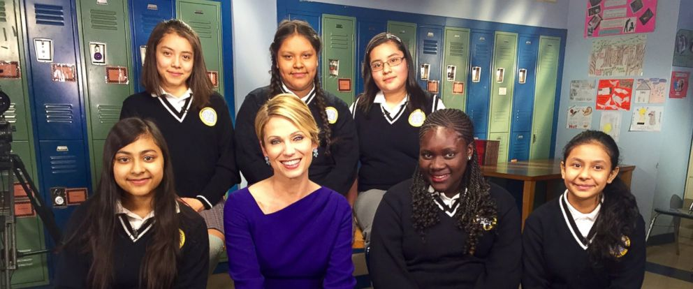 PHOTO: Amy Robach with seventh-grade students from the Young Womens Leadership School in Harlem, N.Y.