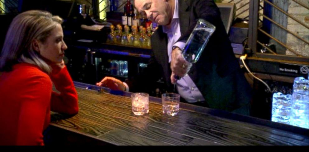 "PHOTO: ""Bar Rescues"" Jon Taffer shows ABCs Amy Robach different ""pours"" unscrupulous bartenders might use to try to rip off customers for an upcoming ""20/20"" segment."