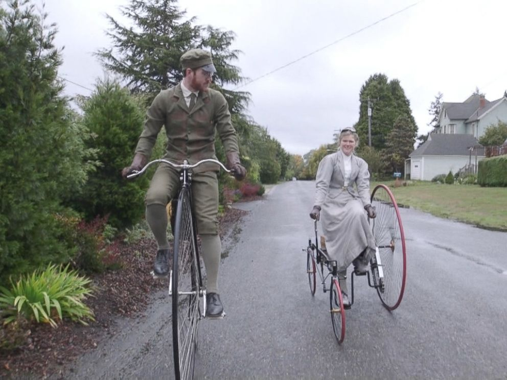 Sarah and Gabriel Chrisman sometimes turn heads while riding their 19th century bicycles where they live in Port Townsend, Washington.