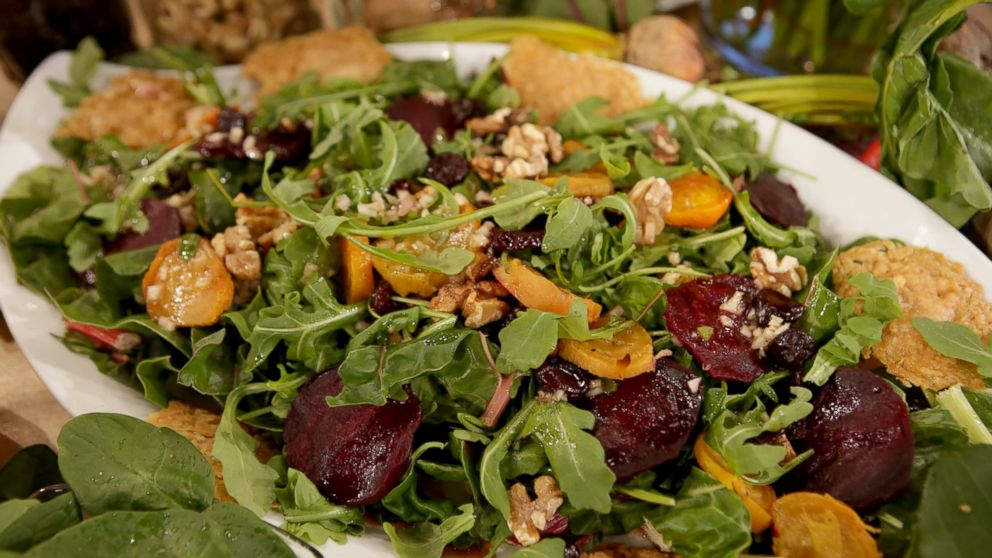 Emeril Lagasse's recipe for Roasted Beet Salad with Walnut Dressing and Cheese Crisps.
