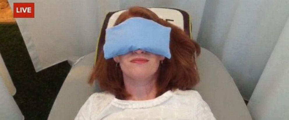 PHOTO: ABCs Karen Travers takes a power nap in Recharj -- a company that brands itself as Washington DCs first nap studio.