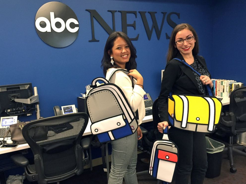 PHOTO: Nicole Pelletiere and Alexa Valiente modeling JumpFromPaper bags.