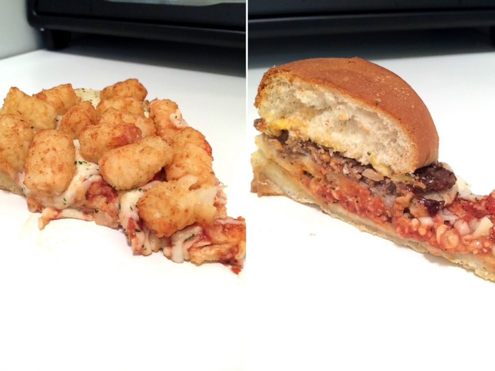 PHOTO: Tater tots and burgers on a pizza.