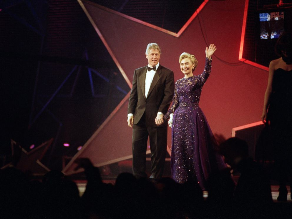 PHOTO: President Clinton and Hillary Rodham Clinton appear at the MTV Ball at the Washington Convention Center, Jan. 20, 1993.