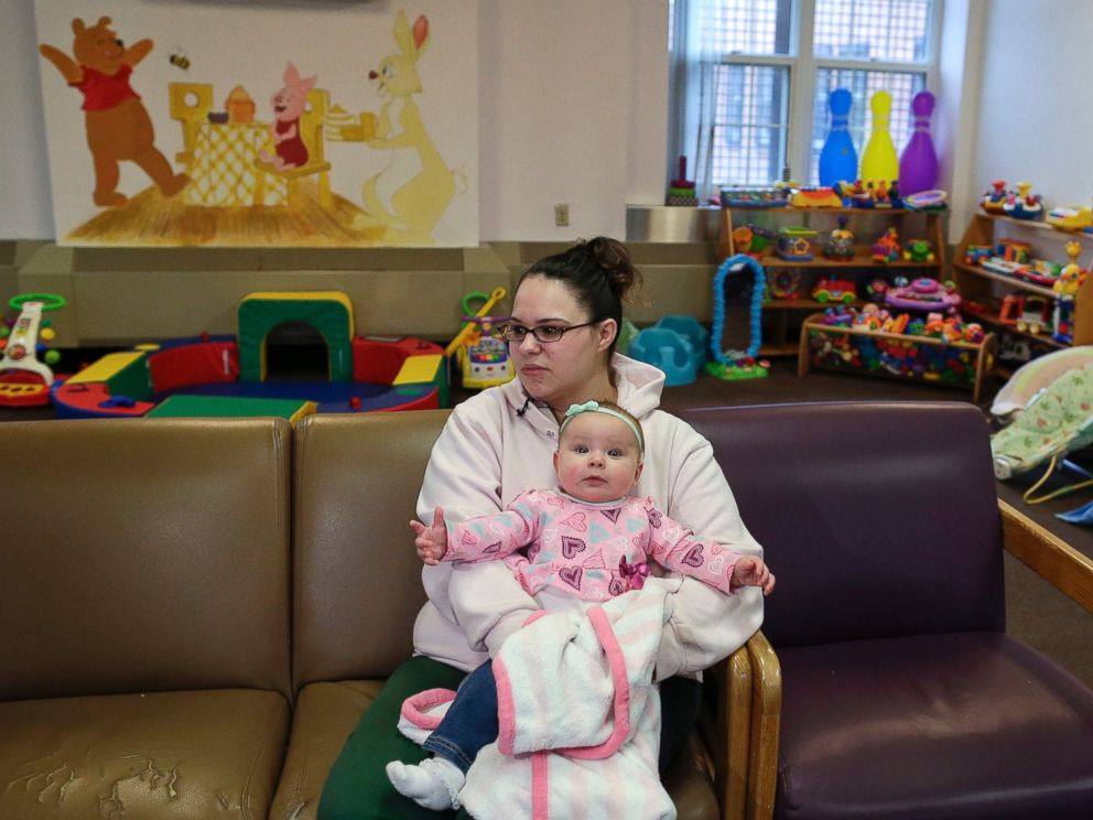 PHOTO: Jennifer Dumas answers questions during an interview while holding her daughter, Codylynn, in a playroom at Bedford Hills Correctional Facility, in Bedford Hills, N.Y., April 12, 2016.