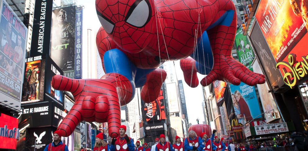 "PHOTO: The ""Spiderman"" float is seen during the Macys Thanksgiving Day Parade in Times Square in New York, Nov. 24, 2011."