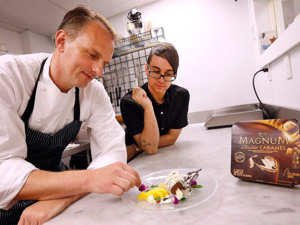 PHOTO: Chef Andrew Carmellini and designer Christian Siriano collaborated on a fashion-forward dessert for Magnum.