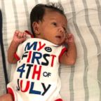 Baby Aaryan poses at Advocate Children's Hospital in his Fourth of July best.