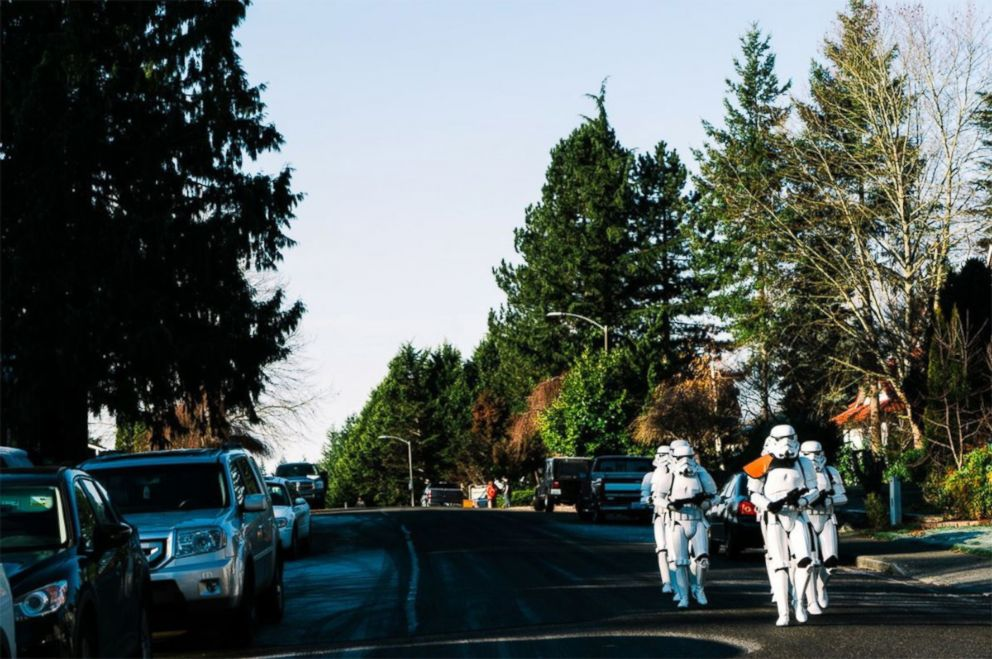 PHOTO: Stormtroopers walk to the home of Ben Bronske.