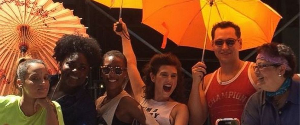 """PHOTO: The cast of Orange Is The New Black posted this image to their official Instagram with the caption: """"Celebrating #PrideNYC with #OITNB!,"""" June 29, 2014."""