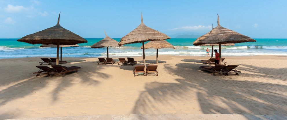 PHOTO: Umbrellas and deck chairs on the beach