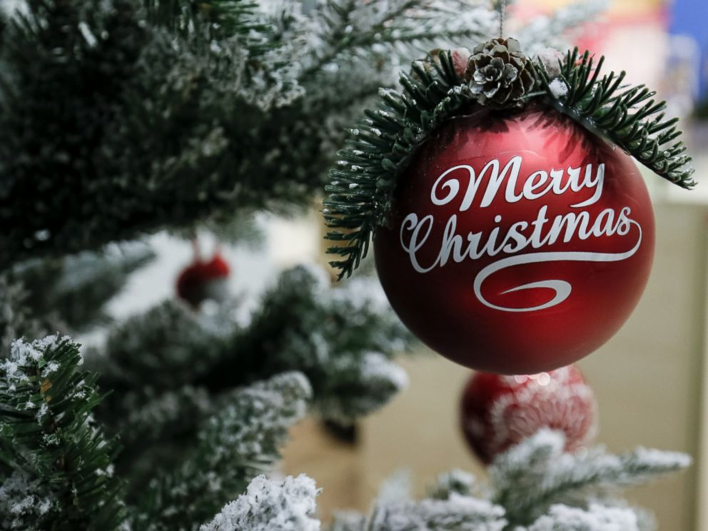 PHOTO:An ornament hangs from a Christmas tree.