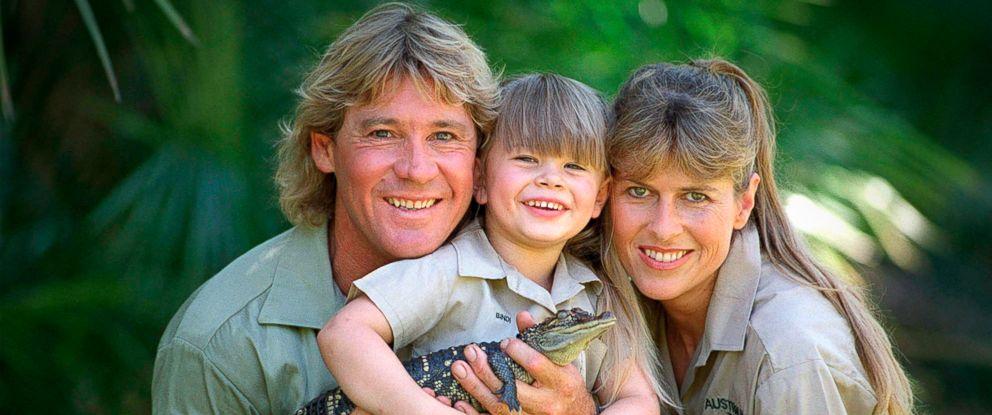 "PHOTO: ""Crocodile Hunter"" Steve Irwin with his wife Terri Irwin, and daughter Bindi Irwin, and a baby crocodile at Australia Zoo in Queensland, Dec. 14, 2002."