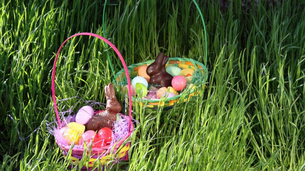 A bunny delivering baskets and chocolate to kids  How did Easter turn into  this  ab63018c5
