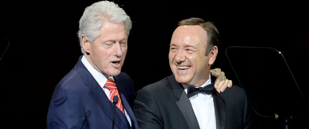 PHOTO: Former President Bill Clinton and Kevin Spacey speak during the 25th Anniversary Rainforest Fund Benefit Concert at Carnegie Hall, April 17, 2014, in New York City.