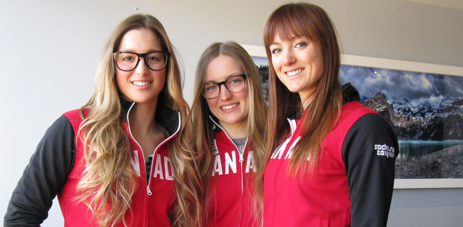 PHOTO: The three Canadian sisters, Chloe (L), Justine (C) and Maxime (R), are pictured on Jan. 21, 2014 at the Victoria Park gym center in Montreal, Canada.