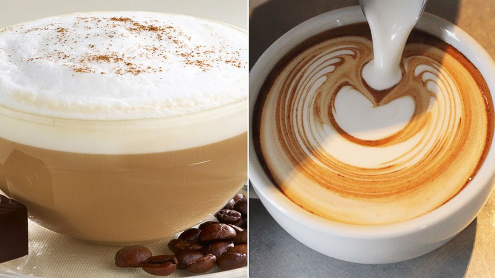 A cappuccino, left, is pictured along with a flat white, right, being poured.