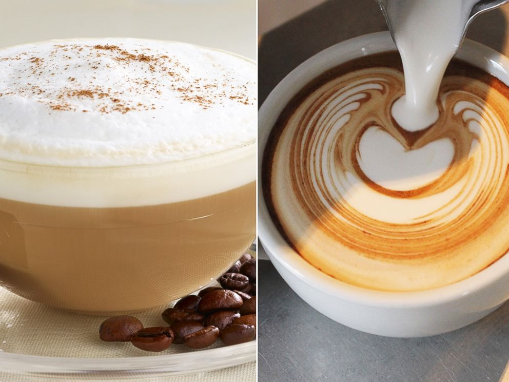 PHOTO: A cappuccino, left, is pictured along with a flat white, right, being poured.