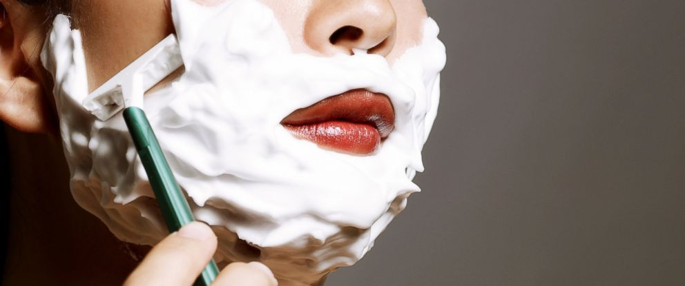 PHOTO: Shaving your face to rid the wrinkles is the latest beauty trend for women.