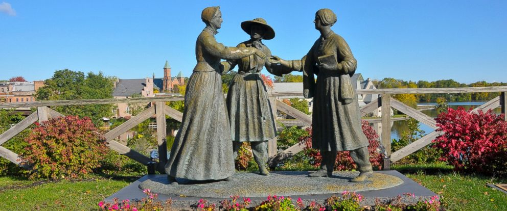 PHOTO: This undated stock photo shows a statue of Susan B. Anthony, Amelia Bloomer and Elizabeth Cady Stanton is pictured in Seneca Falls, N.Y.