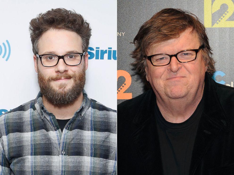 PHOTO: Seth Rogan in New York City, Dec. 15, 2014. | Michael Moore in New York City, Nov. 8, 2013.