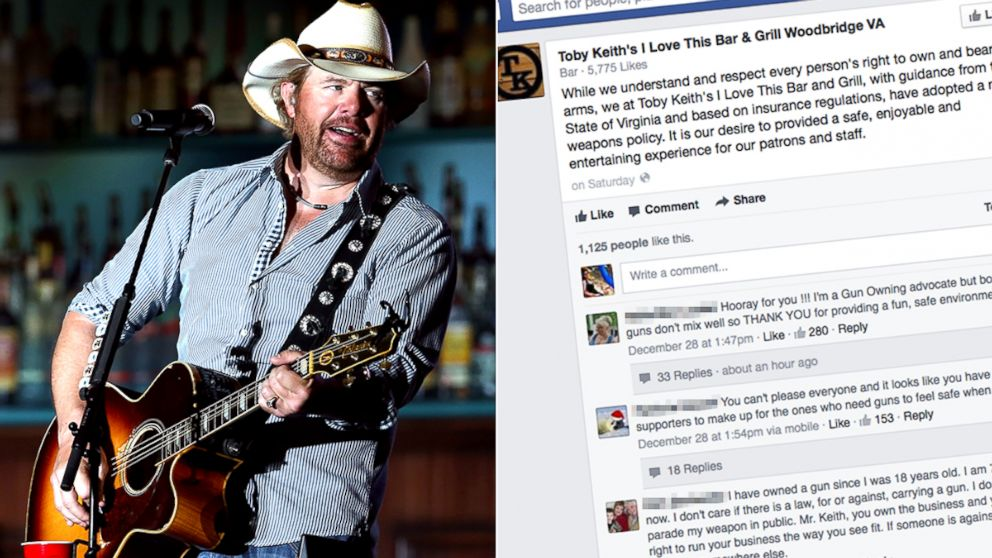 Toby Keith's I Love This Bar & Grill in Woodbridge, Va., outside Washington, D.C., and has instituted a no-guns policy.