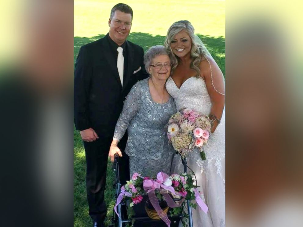 PHOTO: Bride Abby Mershons 92-year-old grandmother, Georgiana Arlt, grinned from ear to ear as she served as the flower girl on July 1, 2017.