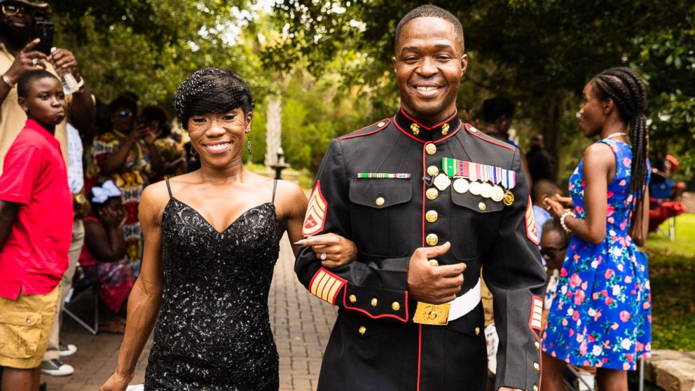 Nakita Brown threw a surprise wedding for her now husband, Rymario Armstrong, a Marine, in Beaufort, S.C.